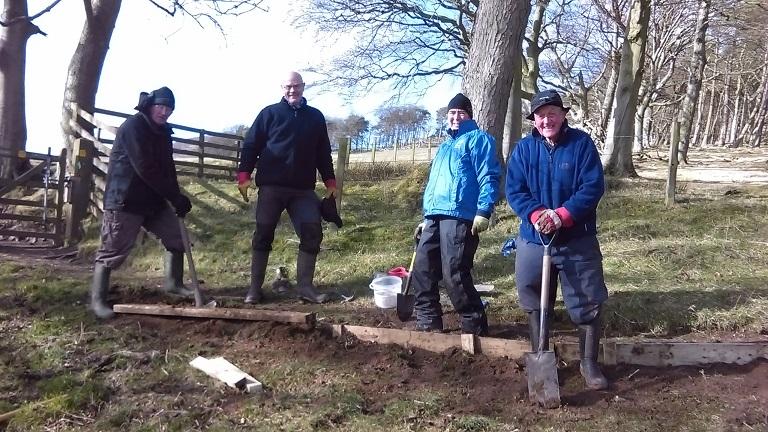 Volunteers working on Pentland Hill path